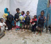 Die Kinder machen sich bereit für den Schulanfang